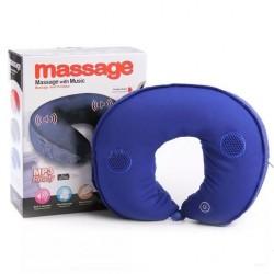 Oreiller de coussin de masseur de cou - MP3 musique avec vibration - Bleu