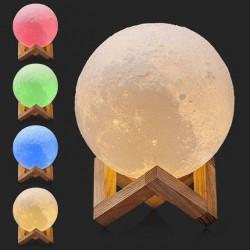 3D Lune Lampe - Capteur Tactile - 5 Couleurs - Changement touche Tactile