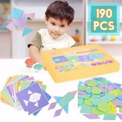 Tangram 190 pièces - Bricolage pour Enfants - Bois - Educatif -