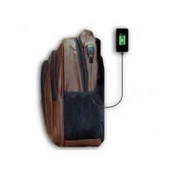 Sac à dos - Simili Cuir - Port USB - Marron